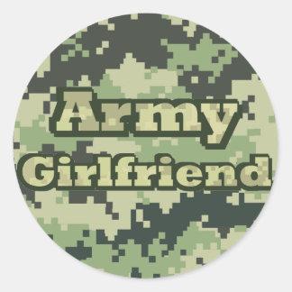 Army Girlfriend Round Stickers
