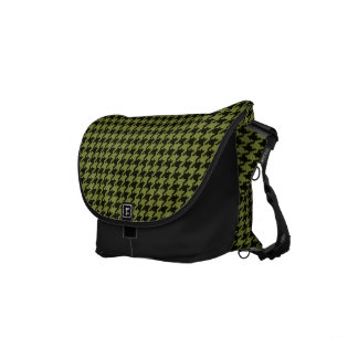 Army Green and Black Textured Houndstooth Pattern Commuter Bag