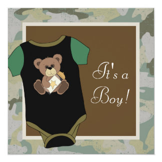 Army Green Camouflage Baby Boy Shower Card