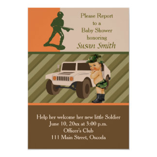 Army Green Camouflage Baby Shower Invite