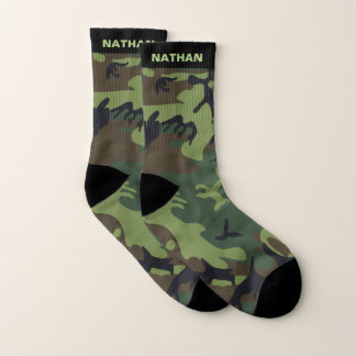 Army Green Camouflage Personalized Name Socks