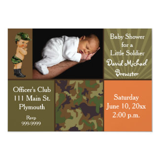 Army Green Camouflage Photo Baby Shower Card