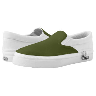 Army Green Colored Printed Shoes