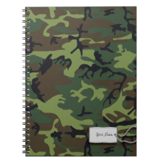 Army Green Military Camouflage Spiral Notebook