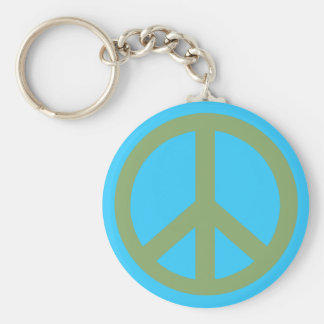 Army Green Peace Sign Products Basic Round Button Key Ring