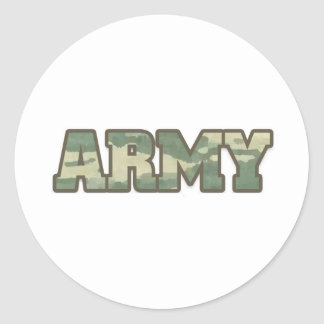 Army in camo round sticker