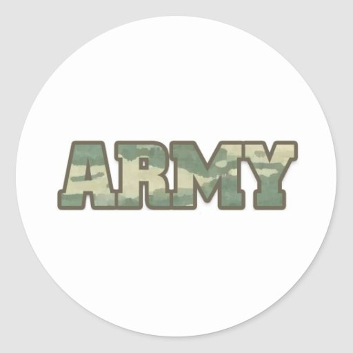 Army in camo round stickers