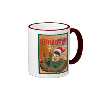 Army Man Waving with Santa Hat Ringer Mug