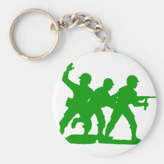 Army Men Squad Basic Round Button Key Ring