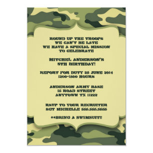 Army birthday cards invitations zazzle army military camouflage birthday party invite bookmarktalkfo Choice Image