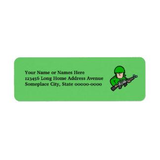 Army Military Soldier Camo Green Designer Art Return Address Label