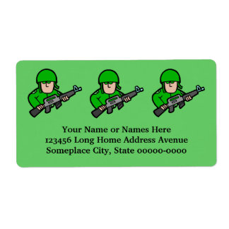 Army Military Soldier Camo Green Designer Art Shipping Label