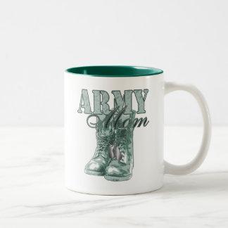 Army Mom Combat Boots N Dog Tags 2 Two-Tone Coffee Mug