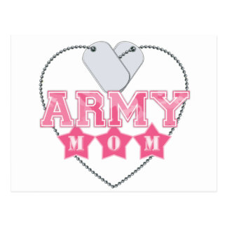 Army Mom Dog Tags Heart Postcards