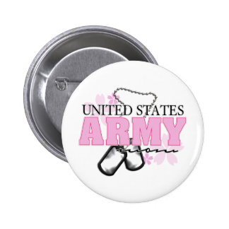 Army Mom flowers Button