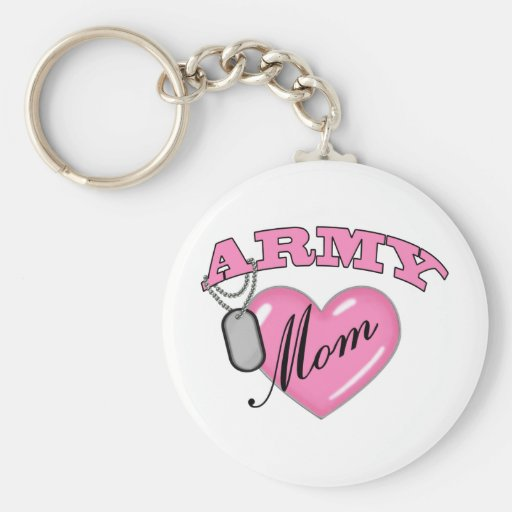 Army Mom Heart N Dog Tag Key Chain