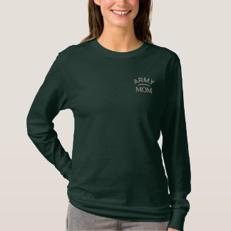 Army Mom Military Mother Embroidered Long Sleeve T-Shirt