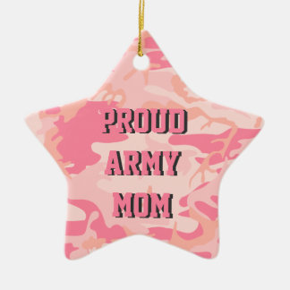 Army Mom | Pink Camo Custom Name Double-Sided Ceramic Star Decoration