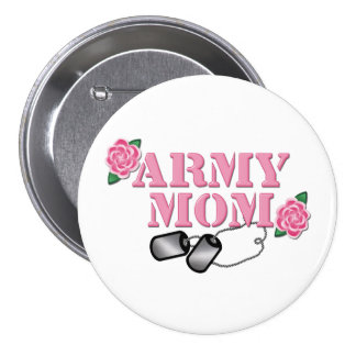 Army Mom Pink Roses N Dog Tags Pinback Button