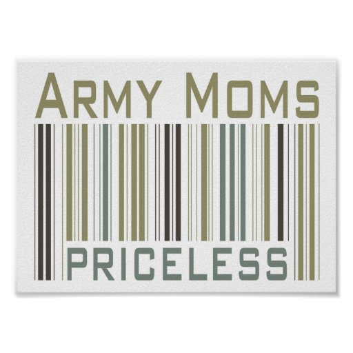Army Moms Priceless Bar Code Poster