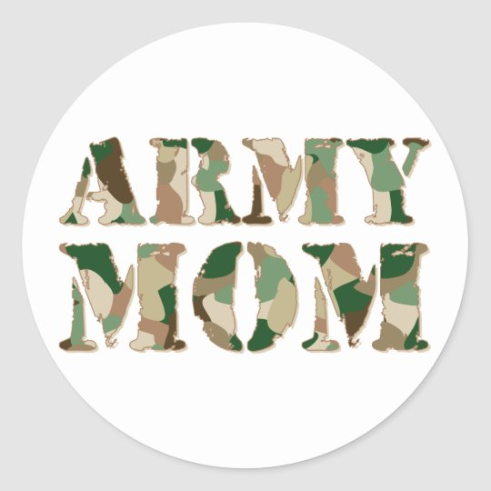 Army Mum camo Classic Round Sticker