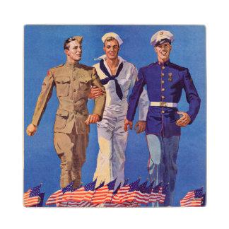 Army, Navy & Marines Wood Coaster