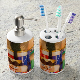 Army of Christmas Nutcrackers Soap Dispenser And Toothbrush Holder