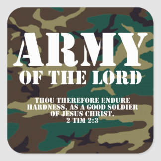 Army of the Lord, Bible Scripture Camo Square Sticker