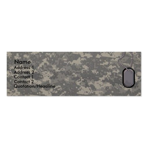 Army Profile Card Pack Of Skinny Business Cards