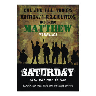 Army Rustic Camouflage Soldiers Kids Birthday 13 Cm X 18 Cm Invitation Card