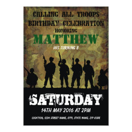 Military birthday cards invitations zazzle army rustic camouflage soldiers kids birthday card bookmarktalkfo Image collections