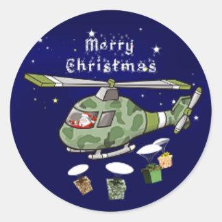 army santa classic round sticker