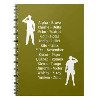 Army Soldier Phonetic Alphabet Cadet School Notebook