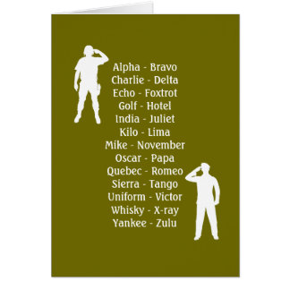 Army Soldier Phonetic Alphabet Rookie Military Job Card