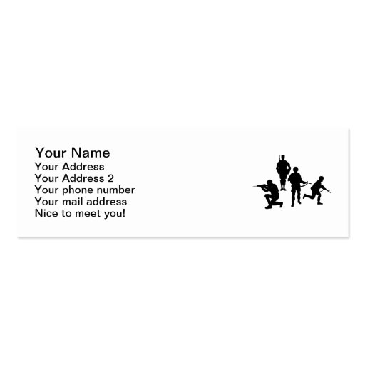 Army soldiers business cards