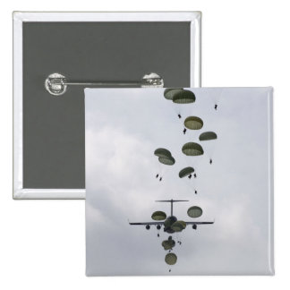 Army Soldiers jump out of a C-17 Globemaster II 15 Cm Square Badge