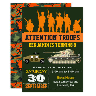 Army Soldiers Military Camo Birthday Invitation