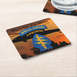 Army Special Forces SF SFG Rangers Green Berets Square Paper Coaster