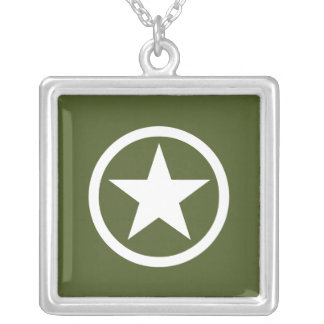 Army Star Square Pendant Necklace