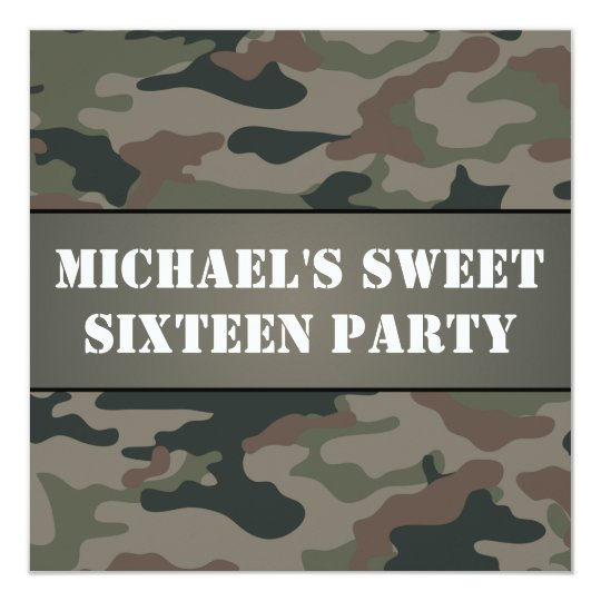 Army Style Sweet 16 Birthday Party Invitation