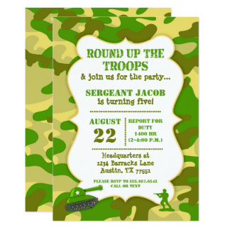Army Toy Soldier Birthday Invitation Camouflage