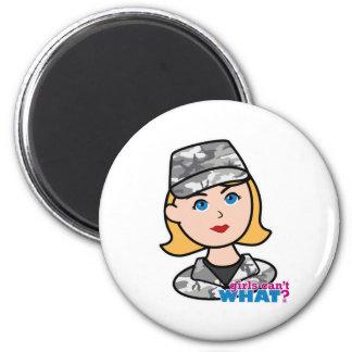 Army Urban Camo Head Blonde 6 Cm Round Magnet