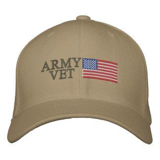 Army Vet with American Flag Baseball Cap