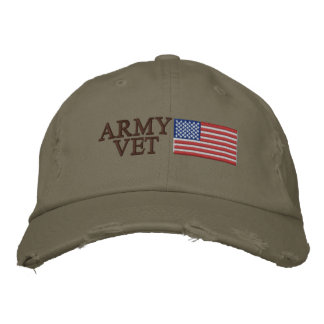 Army Vet with American Flag Embroidered Baseball Caps