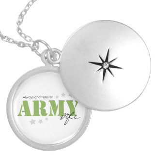 Army Wife - Always and Forever Round Locket Necklace