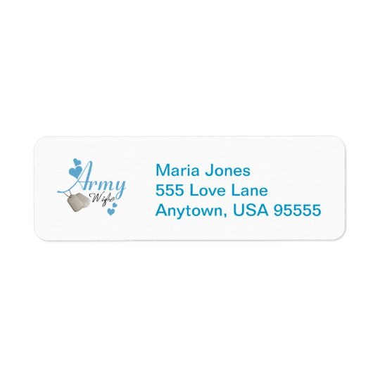 Army Wife (blue) Return Address Label