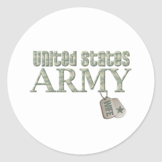 Army Wife - Camo Round Sticker