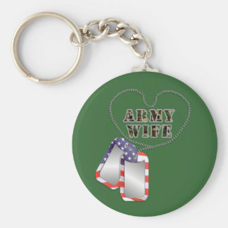 Army Wife Heart Dog-tags Patriotic Keychain