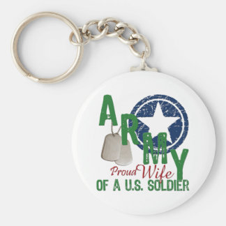 Army Wife - Proud Basic Round Button Key Ring