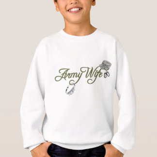 army wife-ring, dog tag, hat- green sweatshirt